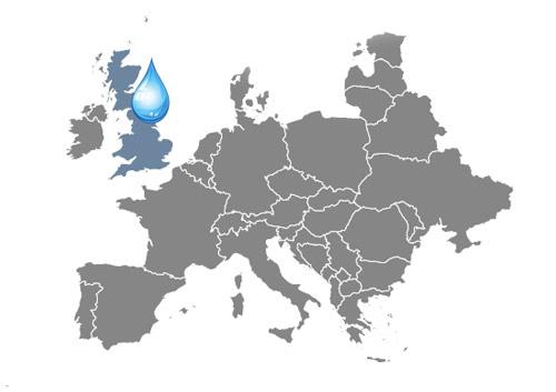 Mapa zaujímavosti o vode Anglicko