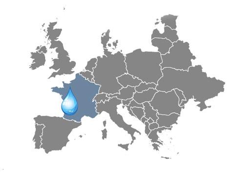 Mapa zaujímavosti o vode Francúzsko