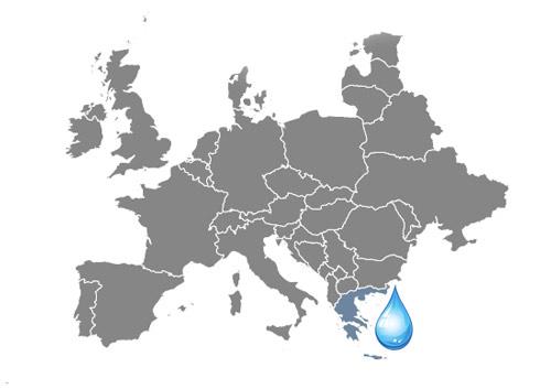 Mapa zaujímavosti o vode Grécko