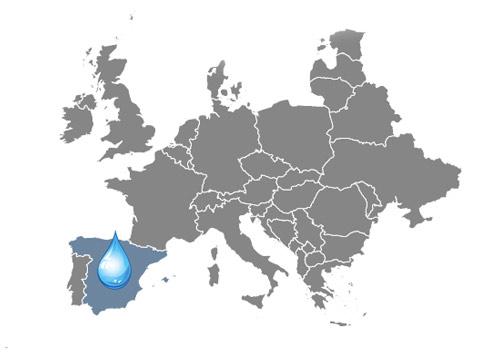 Mapa zaujímavosti o vode Španielsko