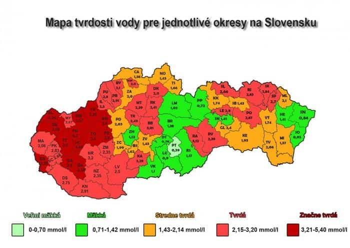 dobre vode mapa Mapa tvrdosti vody na Slovensku | ČistáVoda.sk dobre vode mapa