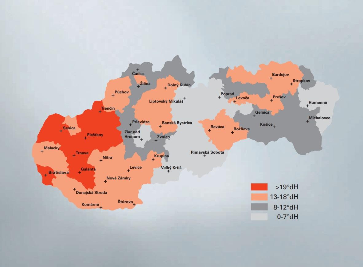 Mapa tvrdosti vody na Slovensku