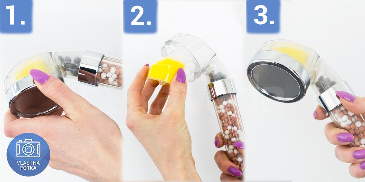 Výmena náplne filtračnej sprchovej hlavice s vit. C