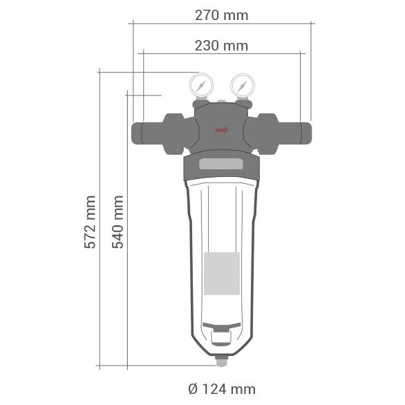 Schéma mechanický filter na vodu Cintropur NW32