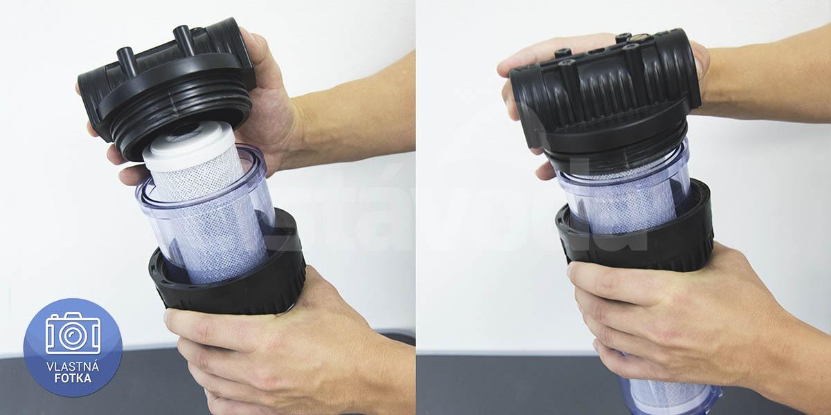 Výměna uhlíkové filtrační vložky v potrubním filtru