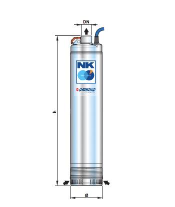 Ponorné čerpadlo na čistú vodu Pedrollo NK 2/3 schéma rozmerov