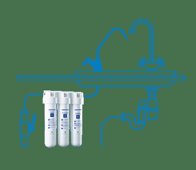 Filter na vodu Aquaphor TRIO schéma zapojenia