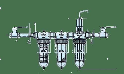 Schéma zapojenia viacúčelového filtra na vodu TRIO-UV